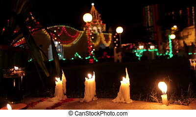 Candles on Indian streets
