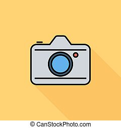 Camera icon. Flat vector related icon with long shadow for...