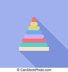 Pyramid toy icon Flat vector related icon with long shadow...