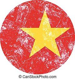 illustration vector grunge stamp round flag of vietnam...