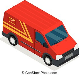 Delivery isometric 3d van car truck cargo set