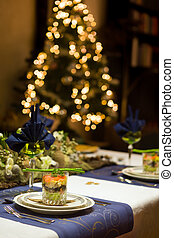 Christmas dinner table with seafood verrine