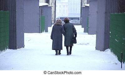 Two old women go on snow-covered park