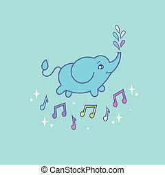 Baby elephant - Cartoon children illustration. Cute baby...