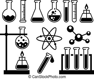 Chemical laboratory equipment - test tubes, flasks and...