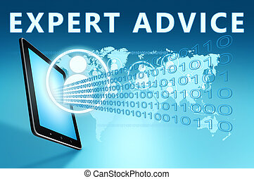 Expert Advice illustration with tablet computer on blue...