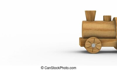 Wooden Toy Train - Wooden toy train isolated on a white...