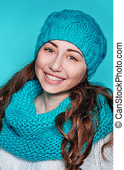 young woman in a knitted hat
