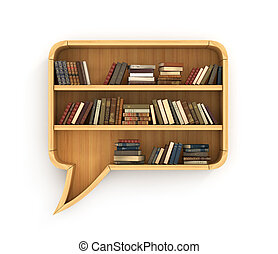Wooden bookshelf full of books in form of dialog - Concept...