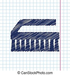 Cleaning brush - Vector hand drawn cleaning brush icon on...