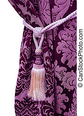 purple curtain with tassel decoration on white background