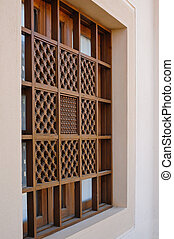 wooden window with beautiful carving