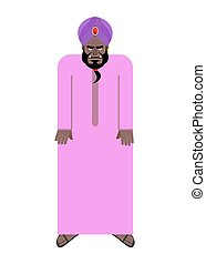 Sheikh in national Arab robe and turban. Vector illustration...