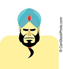 Angry Sheikh turban. Emir with beard. Blue turban is...