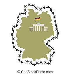 Map Of Germany Map of States with barbed wire Country closes...