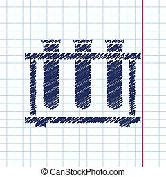 test-tube - Vector hand drawn test-tube icon on copybook