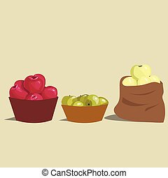apple - Set of red, green and yelow apples