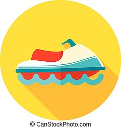 Jet Ski flat icon with long shadow, eps 10