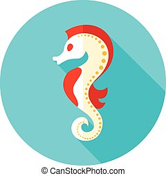 Sea Horse flat icon with long shadow, eps 10