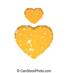 Orange heart simbol - Orange heart set, the simbol of love...