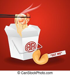 chinese noodles box with chopsticks and fortune cookie
