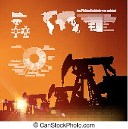 Oil derrick infographic - Oil derrick infographic with...