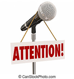 Attention Word Microphone Hanging Sign Listen Speaker Speech...