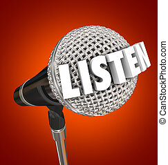 Listen Word Microphone Announcement Stage Speaker Pay...