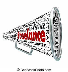 Freelance Bullhorn Megaphone Advertising Professional Independent Services