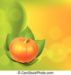 Background with pumpkin in leaves