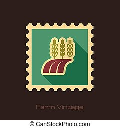 Ears of Wheat, Barley, Rye on Field retro stamp