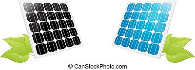 solar cell leaves - illustration of a solar cell panel with...