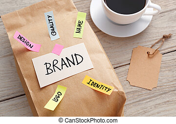 Branding marketing concept with paper bag and brand tag -...