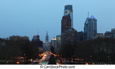 Philadelphia day night timelapse - Philadelphia City center,...