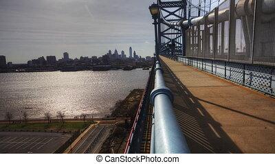 Philadelphia, timelapse from Bridge - Philadelphia a...