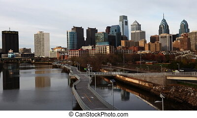 Timelapse of Philadelphia skyline - A timelapse of...