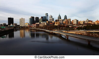 Timelapse, Philadelphia city center - A timelapse of...