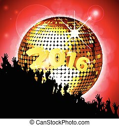 New Year party 2016 with disco ball
