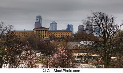 A Timelapse view of Philadelphia - A Timelapse scenic view...