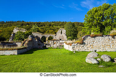 Alvastra Abbey, Sweden - Ruins of Alvastra Abbey, a...