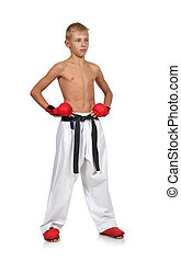 boy in red gloves - karate boy in red gloves isolated on...