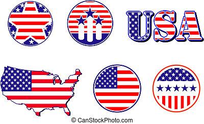 American patriotic symbols set for design and decorate
