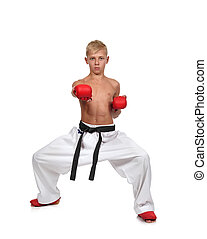 boy in red gloves training karate isolated on white...