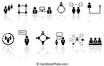 human resource icons with reflection - set of human resource...