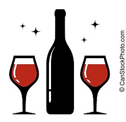 isolated bottle and wine glasses icon - isolated icon with...