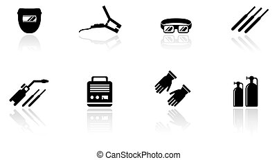 set of welding equipment icons - set of black isolated...