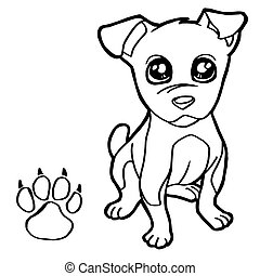 dog  with paw print Coloring Pages