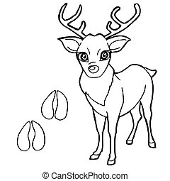 paw print with Deer Coloring Page v - image of paw print...