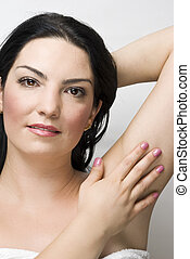 Beautiful woman skin care - Portrait of beautiful woman...