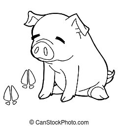 pig with paw print Coloring Pages v - image of pig with paw...